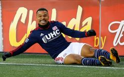 Nov 29, 2014; Foxborough, MA, USA; New England Revolution forward Charlie Davies (9) celebrates his goal against the against the New York Red Bulls during the first half of the Eastern Conference Championship at Gillette Stadium. Mandatory Credit: Winslow Townson-USA TODAY Sports