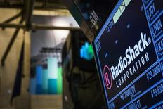 The ticker for RadioShack Corp. is seen at the post where it's traded just after the opening bell on the floor of the New York Stock Exchange March 4, 2014. REUTERS/Brendan McDermid
