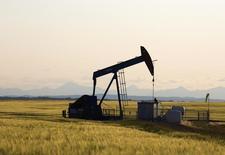 Una unidad de bombeo de crudo cerca de Calgary, Canadá, jul 21 2014. Los fundamentos del mercado y los productores de crudo de alto costo, en lugar de la OPEP, son los que van a fijar un precio justo para el petróleo en los próximos meses, dijo el martes un funcionario del sector de los Emiratos Árabes Unidos. REUTERS/Todd Korol
