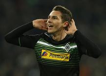 Branimir Hrgota, do Borussia Moenchengladbach, comemora gol marcado contra o FC Zurich pela Liga Europa em Moenchengladbach. REUTERS/Wolfgang Rattay