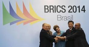Líderes dos países que formam o grupo Brics em cúpula em Fortaleza. REUTERS/Nacho Doce
