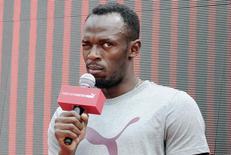 Velocista jamaicano Usain Bolt durante evento promocional em Xangai. 1/09/2014. REUTERS/Stringer