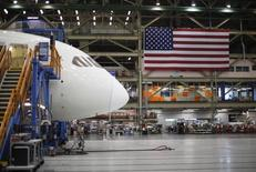 A Boeing 787 Dreamliner under construction is pictured at the Boeing facility in Everett, Washington February 17, 2012, as U.S. President Barack Obama (not pictured) took a tour.  REUTERS/Jason Reed
