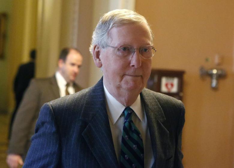 Incoming U.S. Senate Majority Leader Mitch McConnell  (R-KY) walks on Capitol Hill in Washington, December 3, 2014.  REUTERS/Yuri Gripas