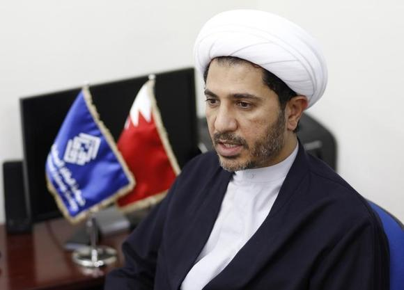 Bahrain's main opposition party Al Wefaq leader Sheikh Ali Salman speaks to Reuters at the party's headquarters in Bilad Al Qadeem, west of Manama, October 28, 2014.  REUTERS/Hamad I Mohammed
