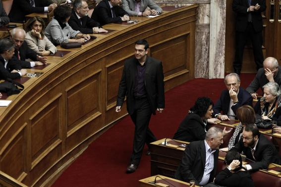 Alexis Tsipras, opposition leader and head of radical leftist Syriza party, arrives for the second of three rounds of a presidential vote at the Greek parliament in Athens December 23, 2014. REUTERS-Alkis Konstantinidis