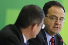Nelson Barbosa , novo ministro do Planejamento, fala durante entrevista coletiva em Brasília 27/11/ 2014. REUTERS/Ueslei Marcelino