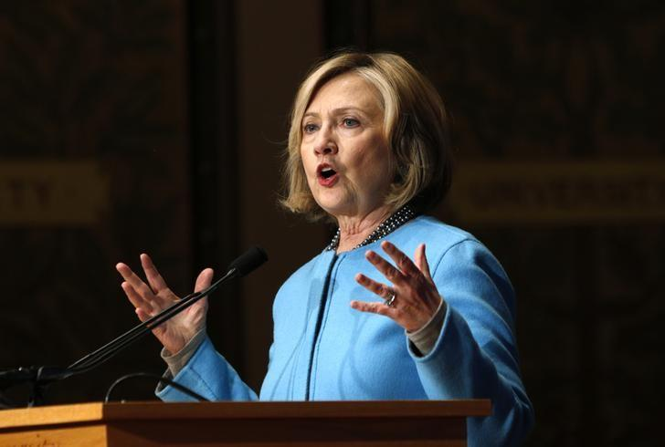 Former Secretary of State Hillary Clinton speaks on ''Smart Power: Security Through Inclusive Leadership'' at Georgetown University in Washington December 3,  2014. REUTERS/Kevin Lamarque