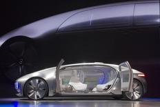 The Mercedes-Benz F015 Luxury in Motion autonomous concept car is shown on stage. REUTERS/Steve Marcus
