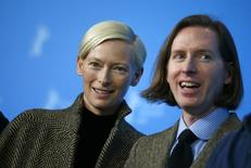 "Actress Tilda Swinton and director Wes Anderson pose during a photocall to promote the movie ""The Grand Budapest Hotel"" at the 64th Berlinale International Film Festival in Berlin February 6, 2014.  REUTERS/Thomas Peter (GERMANY  - Tags: ENTERTAINMENT)"