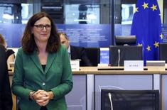 European Trade Commissioner Cecilia Malmstrom of Sweden arrives at a hearing before the European Parliament's Committee on International Trade at the EU Parliament in Brussels September 29, 2014.  REUTERS/Francois Lenoir