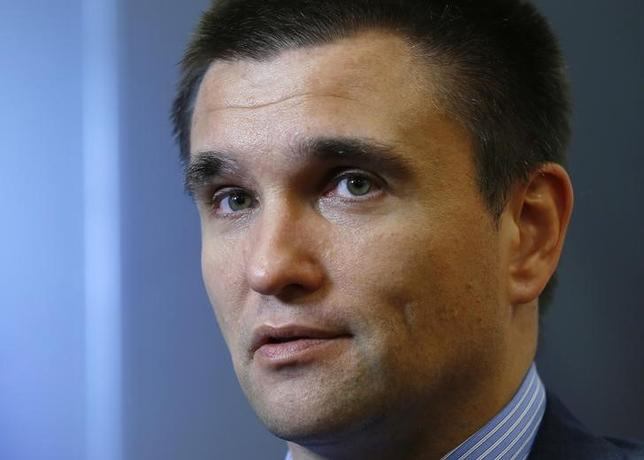 Ukraine's Foreign Minister Pavlo Klimkin speaks during an interview with Reuters in Brussels October 8, 2014.    REUTERS/Yves Herman