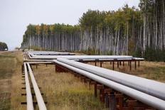 Нефтепровод у месторождения в Канаде. 17 сентября 2014 года. Цены на нефть могут упасть еще сильнее, а восстановление может занять некоторое время, несмотря на растущие признаки возможного завершения нисходящего тренда во втором полугодии на фоне замедления роста предложения в Северной Америке, сообщило в пятницу Международное энергетическое агентство (IEA). REUTERS/Todd Korol
