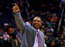 Mar 4, 2014; Phoenix, AZ, USA; Los Angeles Clippers head coach Doc Rivers prior to the game against the Phoenix Suns at the US Airways Center. Mandatory Credit: Mark J. Rebilas-USA TODAY Sports