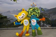 The unnamed mascots of the Rio 2016 Olympic and Paralympic Games are pictured with the Copacabana beach in the background during their first appearance in Rio de Janeiro, November 23, 2014, in this handout courtesy of the Brazil Olympic Committee (COB) REUTERS/Alex Ferro/COB/Handout via Reuters