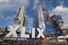 The Super Bowl logo sits outside the Phoenix Convention Center in preparation for Super Bowl XLIX at US Airways Center Jan 27, 2015. Mandatory Credit: Kirby Lee-USA TODAY Sports