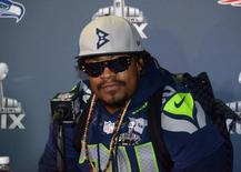 Jan 29, 2015; Phoenix, AZ, USA; Seattle Seahawks running back Marshawn Lynch (24) at press conference at Arizona Grand in advance of Super Bowl XLIX. Kirby Lee-USA TODAY Sports
