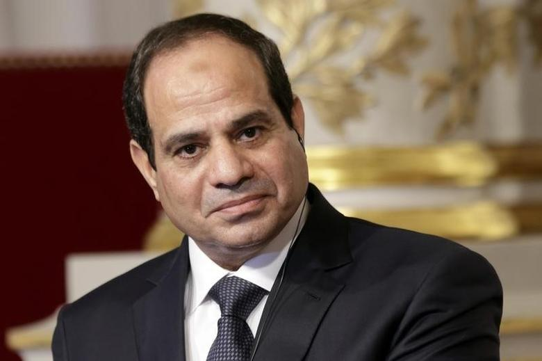 Egyptian President Abdel Fattah al-Sisi delivers a statement following a meeting with French President Francois Hollande at the Elysee Palace in Paris, November 26, 2014. REUTERS/Philippe Wojazer