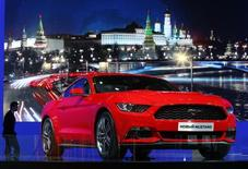 A 2015 Ford Mustang is on display during the Moscow International Automobile Salon in Krasnogorsk outside Moscow, August 27, 2014. REUTERS/Sergei Karpukhin