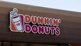 The signage is pictured at a newly opened Dunkin' Donuts store in Santa Monica, California September 2, 2014. REUTERS/Mario Anzuoni