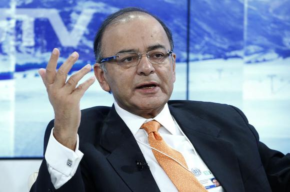 India's Finance Minister Arun Jaitley gestures during the session 'India's Next Decade' in the Swiss mountain resort of Davos January 23, 2015. REUTERS/Ruben Sprich