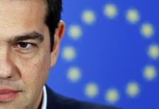 Premiê grego Alexis Tsipras fala em coletiva de imprensa no Parlamento Europeu, em Bruxelas. 04/02/2015 REUTERS/Francois Lenoir
