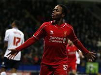 Raheem Sterling, jogador do Liverpool, celebrando gol na partida contra o Bolton Wanderers. 04/02/2015  February 4, 2015.