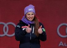 Tina Maze of Slovenia waves to the crowd during the medals ceremony for the women's Super G in the FIS alpine skiing world championships at Championships Plaza.  Jeff Swinger-USA TODAY Sports