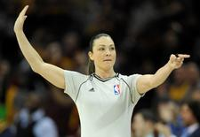 Feb 5, 2015; Cleveland, OH, USA; NBA referee Lauren Holtkamp (7) makes a call in the first quarter of a game between the Cleveland Cavaliers and the Los Angeles Clippers at Quicken Loans Arena. Mandatory Credit: David Richard-USA TODAY Sports