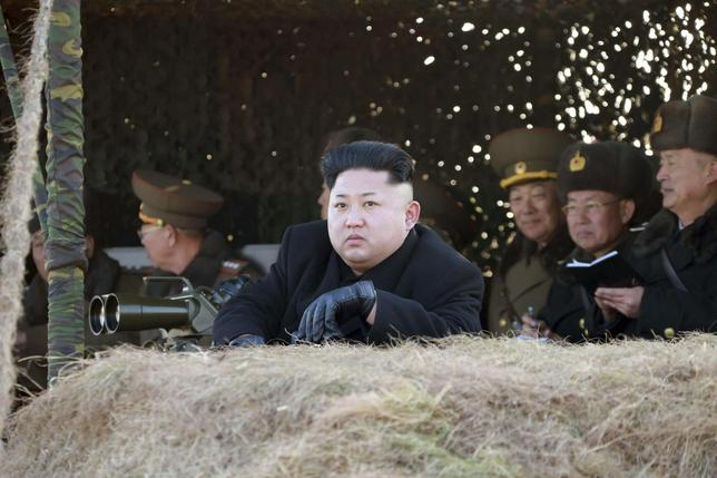 North Korean leader Kim Jong Un (front) watches a drill by the Korean People's Army (KPA) for hitting enemy naval target at undisclosed location in this undated photo released by North Korea's Korean Central News Agency (KCNA) in Pyongyang January 31, 2015. REUTERS/KCNA