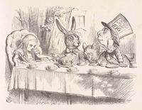 "John Tenniel's illustration of the ""mad tea-party"" from the first published edition of Lewis Carroll's ""Alice's Adventures in Wonderland"" is shown in this image courtesy of Harry Ransom Center at the University of Texas in Austin, Texas released on February 7, 2015. REUTERS/University of Texas Harry Ransom Center/Handout via Reuters"
