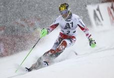 Marcel Hirscher of Austria competes during the first run of the men's Alpine Skiing World Cup night slalom in Schaldming January 27, 2015.       REUTERS/Dominic Ebenbichler