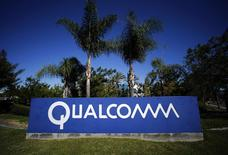 A Qualcomm sign is pictured in front of one of its many buildings in San Diego, California, in this November 5, 2014 file photo.      REUTERS/Mike Blake/Files