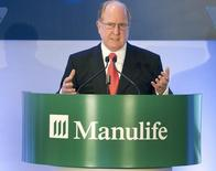 President and Chief Executive Officer of Manulife Financial Corporation Donald Guloien speaks to shareholders at the company's Annual General Meeting in Toronto May 1, 2014. REUTERS/Fred Thornhill