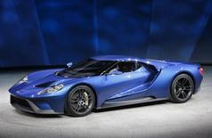 The Ford GT, which goes into production in 2016, is displayed during the first press preview day of the North American International Auto Show in Detroit, Michigan in this January 12, 2015 file photo. REUTERS/Mark Blinch/Files