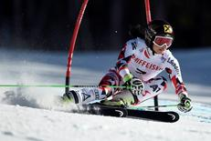 Feb 12, 2015; Beaver Creek, CO, USA; Anna Fenninger of Austria during run two of the women's giant slalom in the FIS alpine skiing world championships at Raptor Racecourse. Eric Bolte-USA TODAY Sports