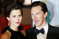 Actor Benedict Cumberbatch and his fiancee Sophie Hunter arrive at the British Academy of Film and Arts (BAFTA) awards ceremony at the Royal Opera House in London February 8, 2015. REUTERS/Suzanne Plunkett