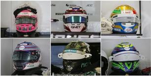 Foto combinada de capacetes de pilotos da Fórmula 1 com adesivos de apoio ao piloto francês Jules Bianchi. 11/10/2014 REUTERS/Maxim Shemetov