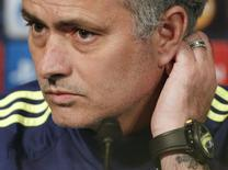 Técnico do Chelsea, José Mourinho, em entrevista coletiva. 16/02/2015 REUTERS/Christian Hartmann