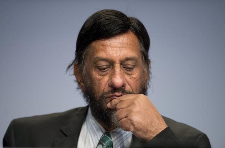 IPCC Working Group III Chairman Rajendra Pachauri attends a news conference to present Working Group III's summary for policymakers at The Intergovernmental Panel on Climate Change (IPCC) in Berlin April 13, 2014. REUTERS/Steffi Loos/Files