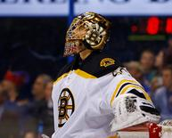 Boston Bruins goalie Tuukka Rask (40) is seen after replacing goalie Malcolm Subban (not pictured) during the second period against the St. Louis Blues at Scottrade Center. Mandatory Credit: Billy Hurst-USA TODAY Sports