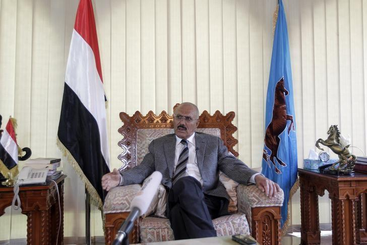 Yemen's former President Ali Abdullah Saleh talks during an interview with Reuters in Sanaa May 21, 2014. REUTERS/Khaled Abdullah