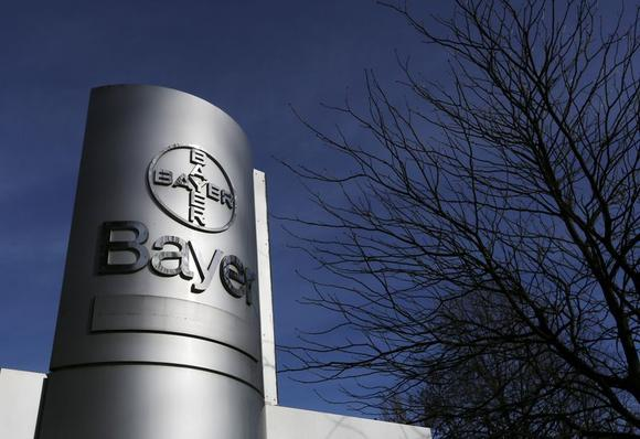 A view of the Bayer AG logo at the Bayer Healthcare subgroup production plant in Wuppertal in this February 24, 2014 file photo. REUTERS/Ina Fassbender