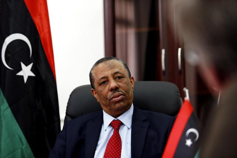 Libya's internationally recognized Prime Minister Abdullah al-Thinni speaks during an interview with Reuters in Bayda February 15, 2015. REUTERS/Esam Omran Al-Fetori