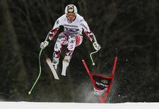 Hannes Reichelt from Austria speeds down during the last men's downhill training run of the Alpine Skiing World Cup in Garmisch-Partenkirchen February 27, 2015.  REUTERS/Wolfgang Rattay