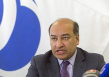 President of the European Bank for Reconstruction and Development (EBRD) Suma Chakrabarti speaks during news conference in Minsk February 18, 2015.  REUTERS/Vasily Fedosenko