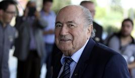 FIFA President Sepp Blatter arrives at Hotel Bourbon in Luque March 3, 2015. REUTERS/Jorge Adorno