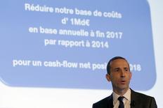 Le directeur général d'Areva, Philippe Knoche. Le groupe nucléaire français, qui a enregistré en 2014 une perte de 4,8 milliards d'euros en raison d'importantes dépréciations d'actifs et de provisions, a l'intention de mettre en oeuvre un plan d'économies d'un milliard d'euros à l'horizon 2017. /Photo prise le 4 mars 2015/REUTERS/Philippe Wojazer