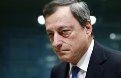European Central Bank (ECB) President Mario Draghi looks on at the start of a euro zone finance ministers meeting in Brussels February 16, 2015. REUTERS/Francois Lenoir