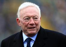 Dallas Cowboys owner Jerry Jones before the 2014 NFC Divisional playoff football game against the Green Bay Packers at Lambeau Field. Jan 11, 2015; Green Bay, WI, USA; Andrew Weber-USA TODAY Sports